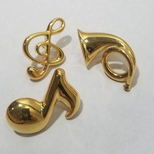 Trifari music pins in goldtone vintage